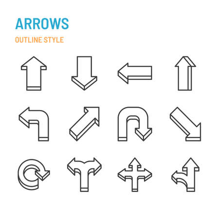 3d arrows in outline icon and symbol set Illustration