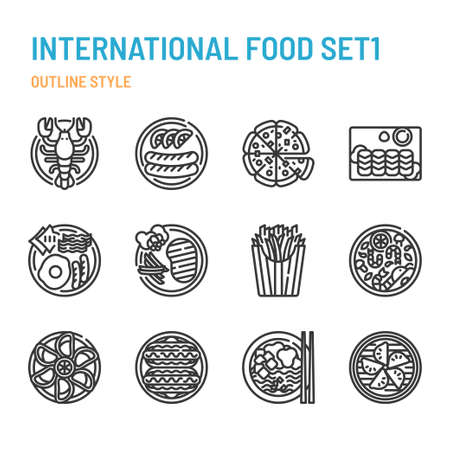 International cuisine in outline icon and symbol set Illustration