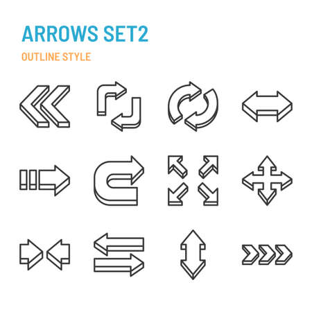 3d arrows in outline icon and symbol set Banque d'images - 164810617