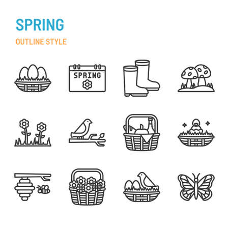 Spring season in outline icon and symbol set Illustration