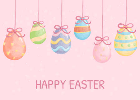 Watercolor Happy easter day with easter egg Banque d'images - 164710480