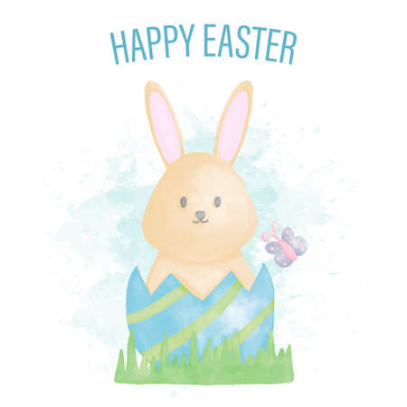 Watercolor happy easter day with bunny and easter eggs