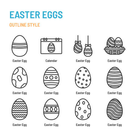 Easter Eggs in outline icon and symbol set Illustration