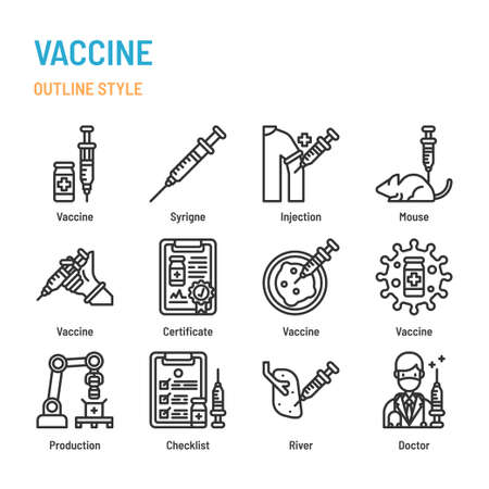 Vaccine in outline icon and symbol set