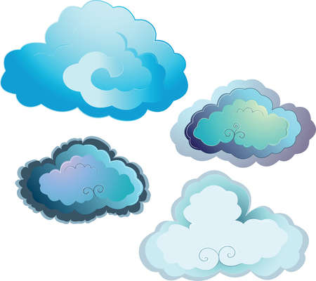 set of blue vector clouds Vector