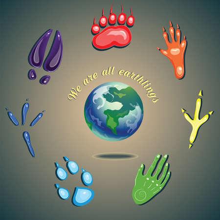 huellas de animales: los seres humanos y los animales huellas que son todos los terrícolas Vectores