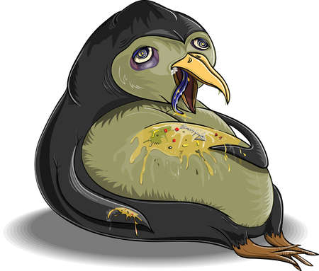 Penguin, which is glutted himself and became ill Illustration