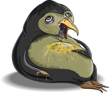 ivresse: Penguin, qui est lui-m�me engorg� et est tomb� malade Illustration
