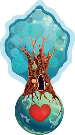 tree crown: tree-house on the planet with red heart