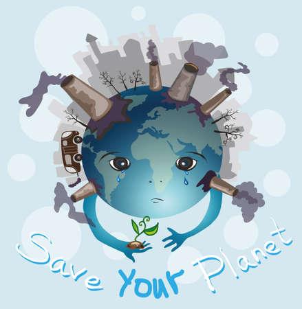 contaminacion del agua: Ilustración del vector del planeta destruido