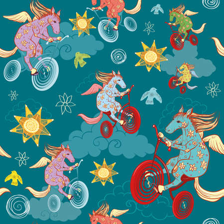 seamless pattern with fantasy horses, pegasus rides a bicycle in the sky Vector