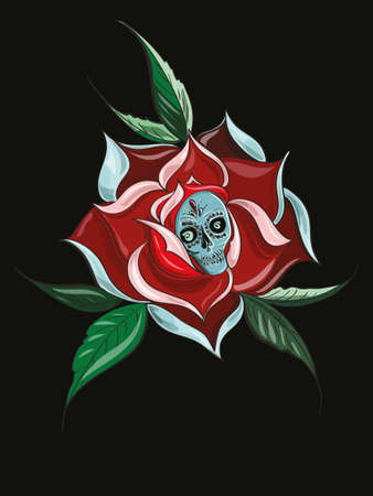 Illustration with rose with skull inside  tattoo theme illustration
