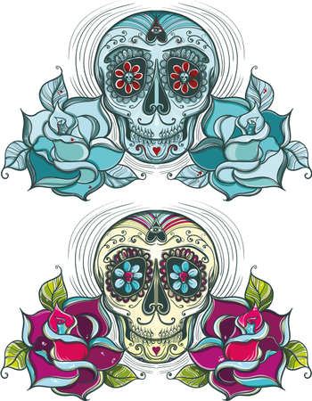 mexican ethnicity: Vector sugar skull with roses