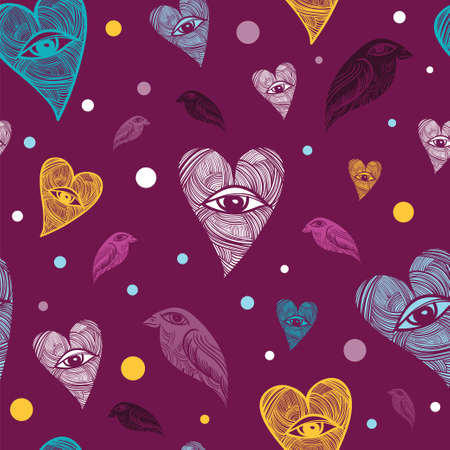 Vector pattern hearts and birds. Heart with eye. Illustration