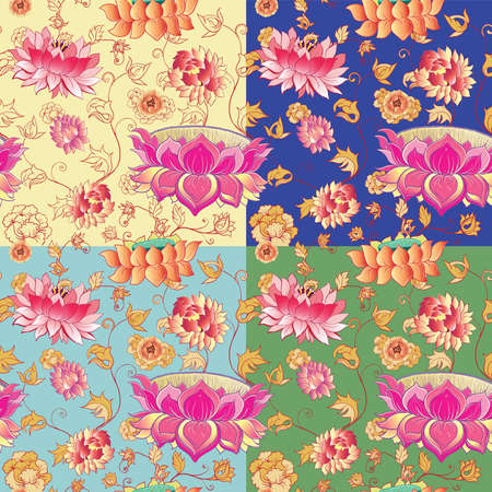 flowers vector seamless pattern with lotuses and peonies. eps 10 Vector