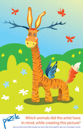 Cartoon puzzle for kids with answer. Which animals did the artist have in mind; while creating this picture?  Wonderful enigmatic animal. Guess the animal.  Vector