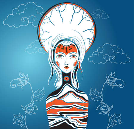 Vector illustration of the Goddess. Female archetype. Mother nature concepts.  Vettoriali