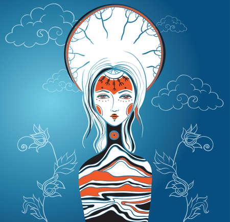 femininity: Vector illustration of the Goddess. Female archetype. Mother nature concepts.  Illustration