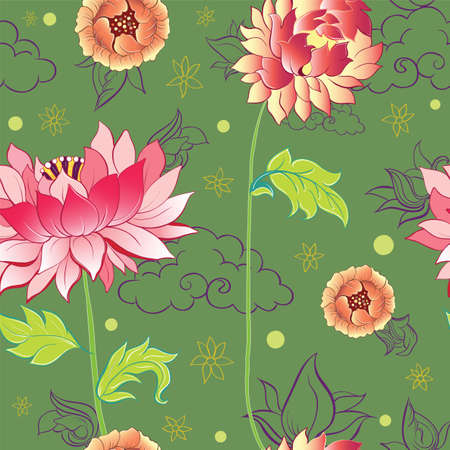 pattern with lotus flowers, peonies and chrysanthemums Vector