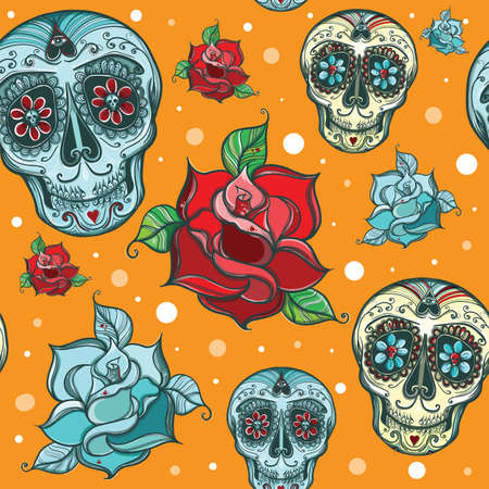 seamless pattern with calavera sugar skull with roses.  Vector
