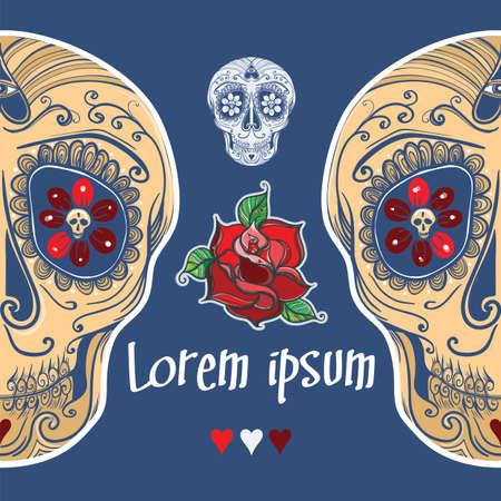 template with calavera sugar skull and roses.  Vector