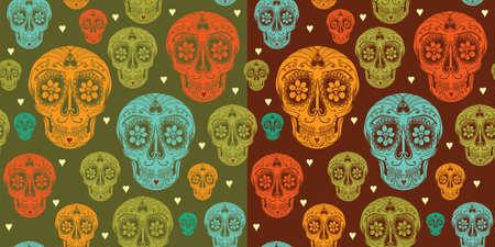 Vector seamless pattern with calavera sugar skull and hearts. Vector
