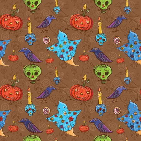 Cute cartoon colorful halloween seamless pattern with ghost, raven, pumpkin, skull, candle.  Vector