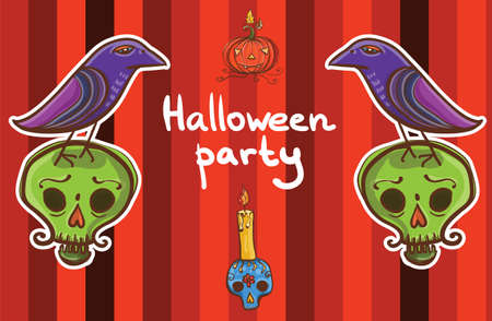 Cute cartoon colorful halloween vector background template with raven, pumpkin, skull, candle. eps 10 Vector