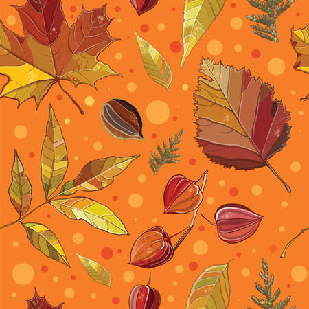 Vector seamless pattern with autumn set leaves, nuts, tree. Background with Thuja; aspen; physalis; alder; elm; willow; maple. eps 10 Vector