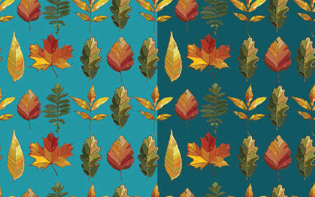 Vector seamless pattern with autumn set leaves. Background with  aspen; alder; elm; willow; maple; oak; Potentilla. eps 10 Vector