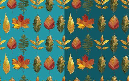 elm: Vector seamless pattern with autumn set leaves. Background with  aspen; alder; elm; willow; maple; oak; Potentilla. eps 10