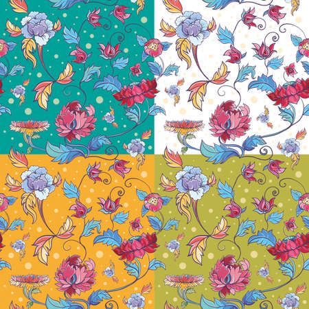 four variants of flowers vector seamless pattern with lotuses and peonies. Asian theme. eps 10 Vector