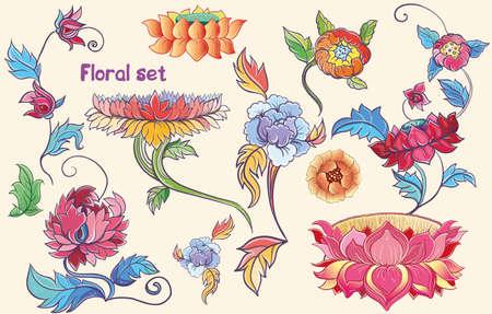 flores chinas: Conjunto floral con flores de loto vector, flores peonies.Isolated. Tema asi�tico. eps 10 Vectores