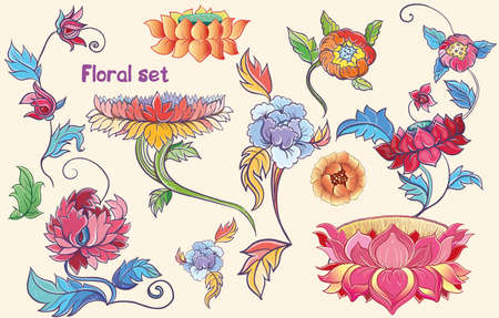lotus leaf: Floral set with vector lotuses, peonies.Isolated flowers. Asian theme. eps 10