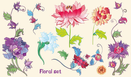 Floral set with vector lotuses, peonies.Isolated flowers. Asian theme. eps 10