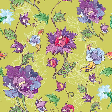 Vector floral pattern with chrysanthemum, peony, aster. Asian theme. Colored pattern with flowers. eps 10 Vector