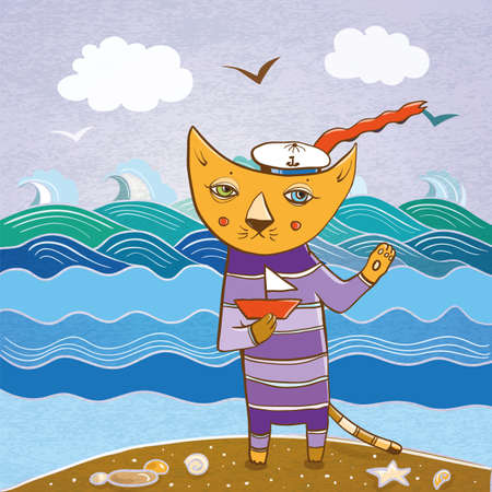 Cartoon vector illustration of cat sailor on the sea with the small ship. eps 10 Illustration