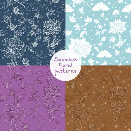 Set of vector floral seamless patterns with chrysanthemum, peony, aster. Asian theme. eps 10 Vector