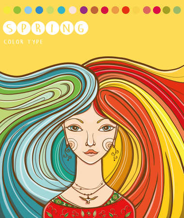 Vector illustration of color type of girl - spring. Spring girl. Colors for spring-type appearance. Warm and bright. eps 10
