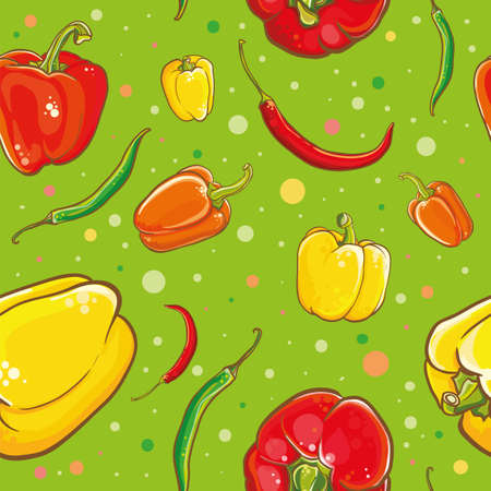Colorful vector seamless pattern with bright fresh peppers. Vector illustration of peppers, chili peppers, cayenne and spice.