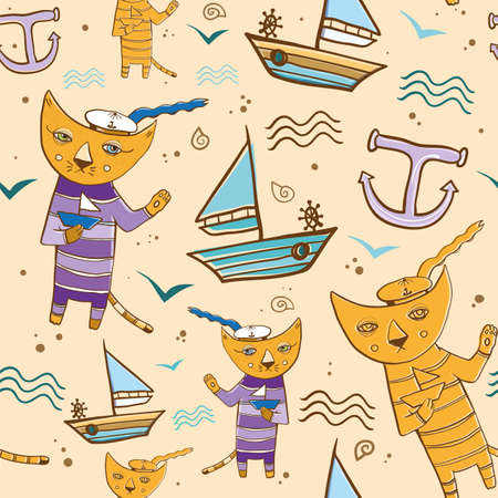 Cartoon vector seamless pattern with cat sailor on the sea with the small ship. Summer theme. eps 10 Vector
