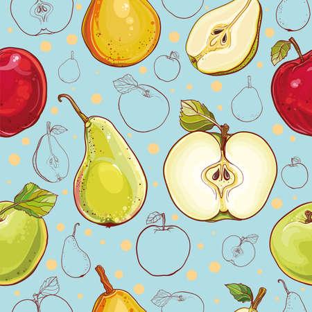 신선한 사과와 배 밝은 벡터 원활한 패턴입니다. 단일 사과와 배, 사과, 배, 컬러와 과일의 윤곽 드로잉의 일부입니다. 일러스트