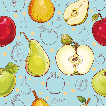 Bright vector seamless pattern with fresh apples and pears. Single apple and pear, part of apple and pear, colored and outline drawing of fruits.
