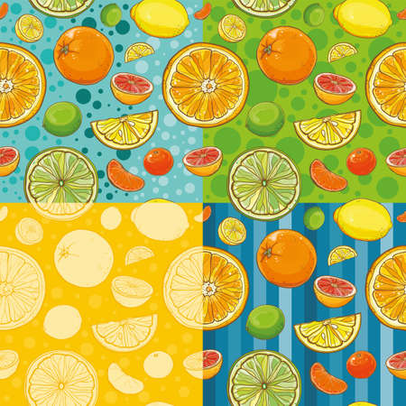 Four vector seamless patterns with lemon, lime, orange, tangerine, grapefruit. Bright background with juicy citrus fruits. eps 10