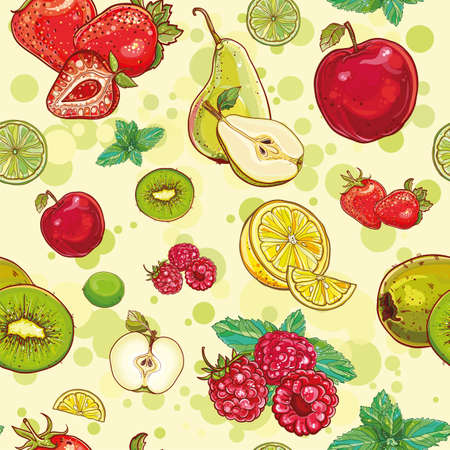 lemon lime: Vector bright seamless pattern with fruits and berries. Apple, kiwi, strawberry, raspberry, pear, lemon, lime, mint. eps 10 Illustration