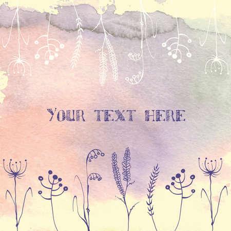 dessin fleur: Illustration d'aquarelle vecteur de fond avec de belles fleurs de printemps et d'herbes. La texture du papier.