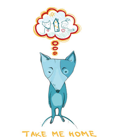 sad dog: Illustration showing a sad homeless dog. Dream about house and friend. Take me home.