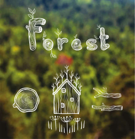 designe: Vector blurred forest background with hut, wood, firewood and text. Green landscape. Mountain view. Forest. Designe and web template. eps 10 Illustration