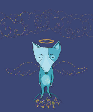 Vector illustration of dog angel with wings, flowers, clouds. Protection of animals.  Vector