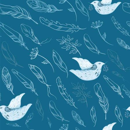 aerate: Luce, sfondo arioso vettore con gli uccelli, piume e ramoscelli di piante. Seamless primavera. eps 10 Vettoriali
